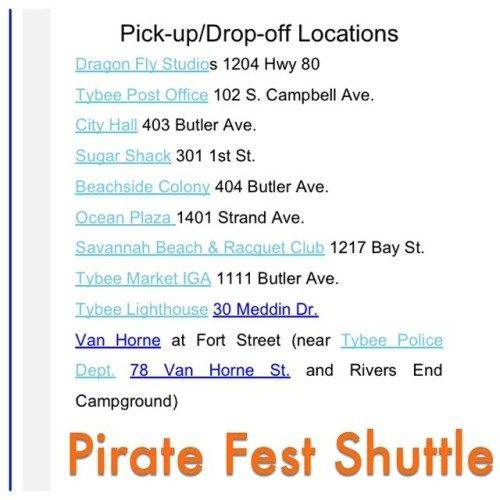 Tybee Island Pirate Fest Shuttle