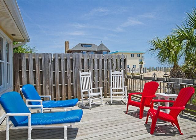 rocking chairs on deck at atlantic 1 cottage mermaid cottages tybee island ga