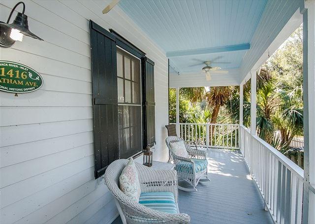 porch rockers at dutton-waller cottage mermaid cottages tybee island ga