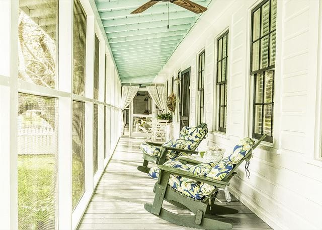 rocking chairs at enlisted mens mess hall cottage mermaid cottages tybee island ga