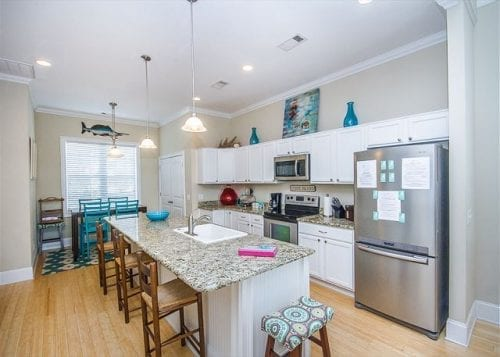 the kitchen at 17th street dream cottage, mermaid cottages, tybee island ga