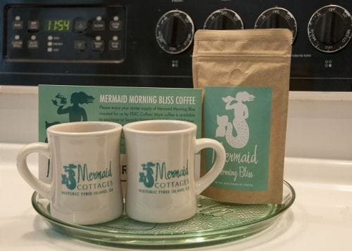 mermaid morning bliss coffee and mugs by mermaid cottages tybee island ga