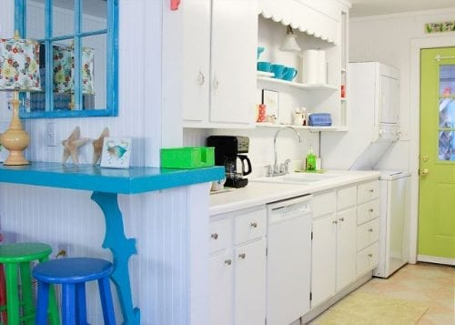 the kitchen at the shrimp cottage, mermaid cottages, tybee island ga